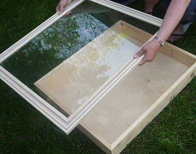 DIY a shadow box: build a shallow tray and glue a frame to the front. Nice!