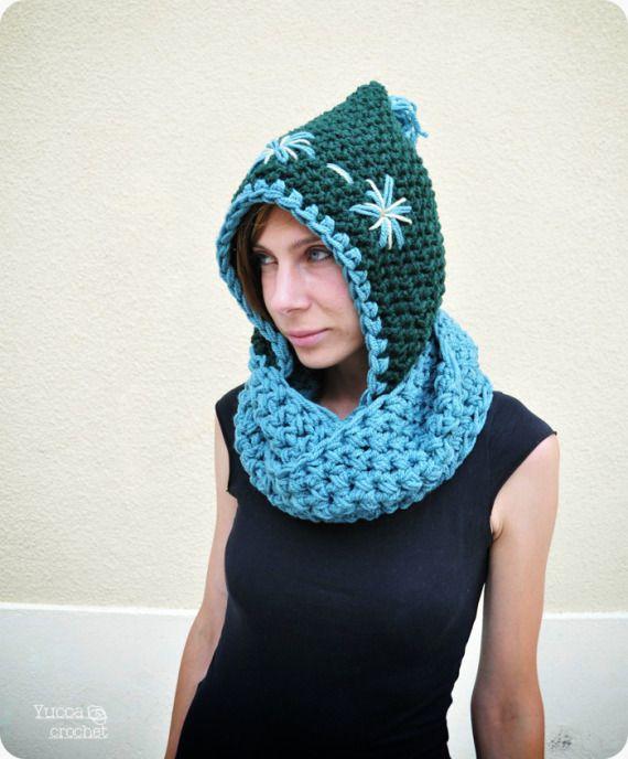 Patron de bufanda con capucha a crochet - Imagui
