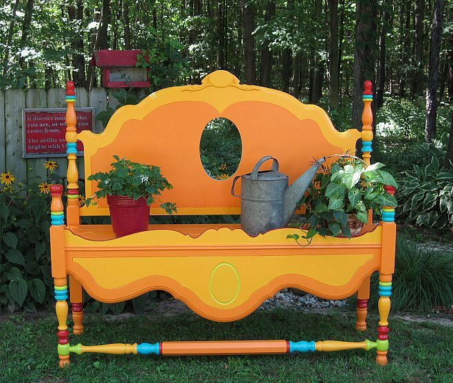 DIY Garden bench from an old bed