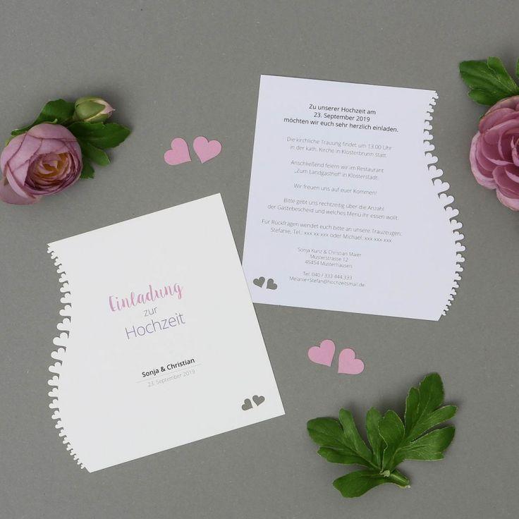 Adomo | Einladung - Postkarte quadratisch für Hochzeit mit Lasercut Herzen online gestalten und drucken lassen