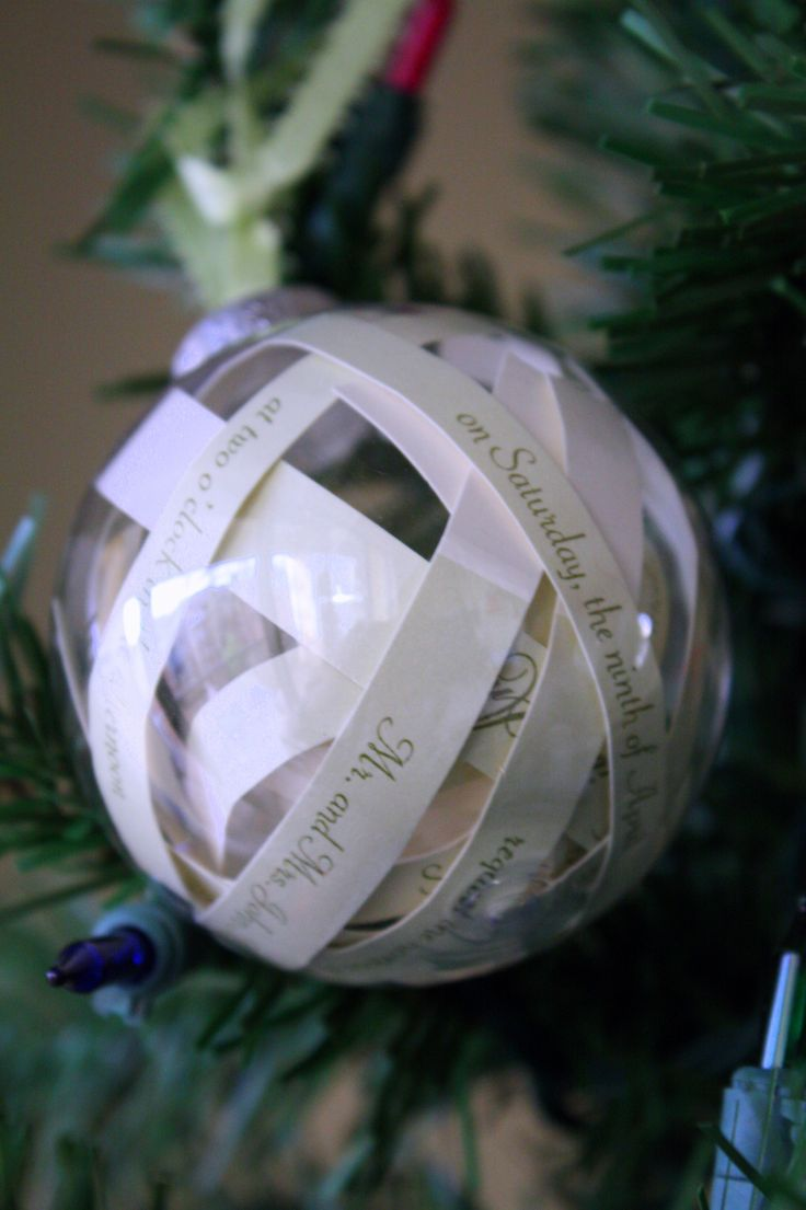 First married christmas ornament - Christmas Ornament Made Out Of A Wedding Invitation
