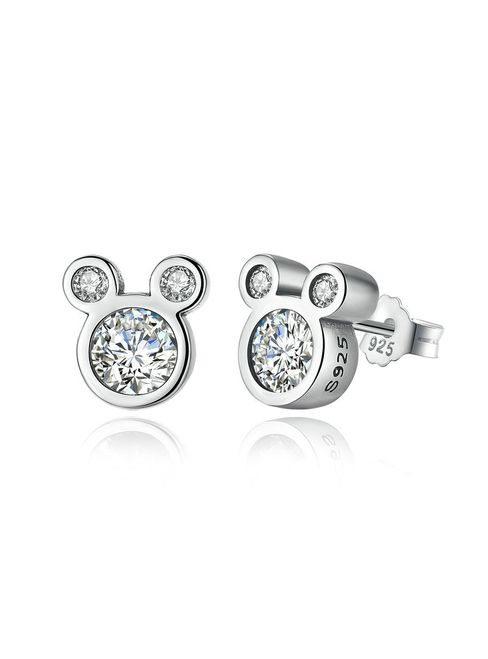 925 Sterling Silver Miky Mouse Stud Earrings for Women
