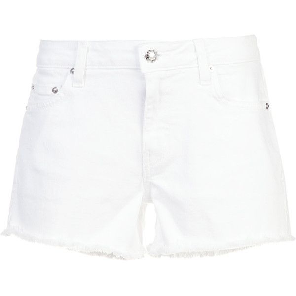 Derek Lam 10 Crosby Mid-Rise Slim Girlfriend Denim Short shorts (£140) ❤ liked on Polyvore featuring shorts, white, slim shorts, white hot pants, white denim shorts, denim hot pants and white short shorts