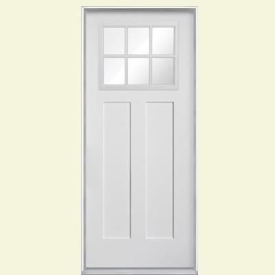 Masonite craftsman 6 lite primed smooth fiberglass entry for Home depot back doors