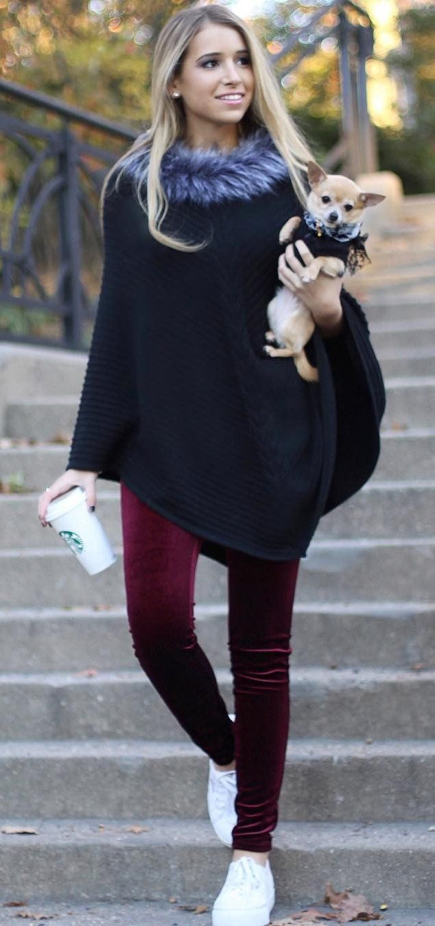 #winter #fashion /  Black Cape + Burgundy Velvet Leggings