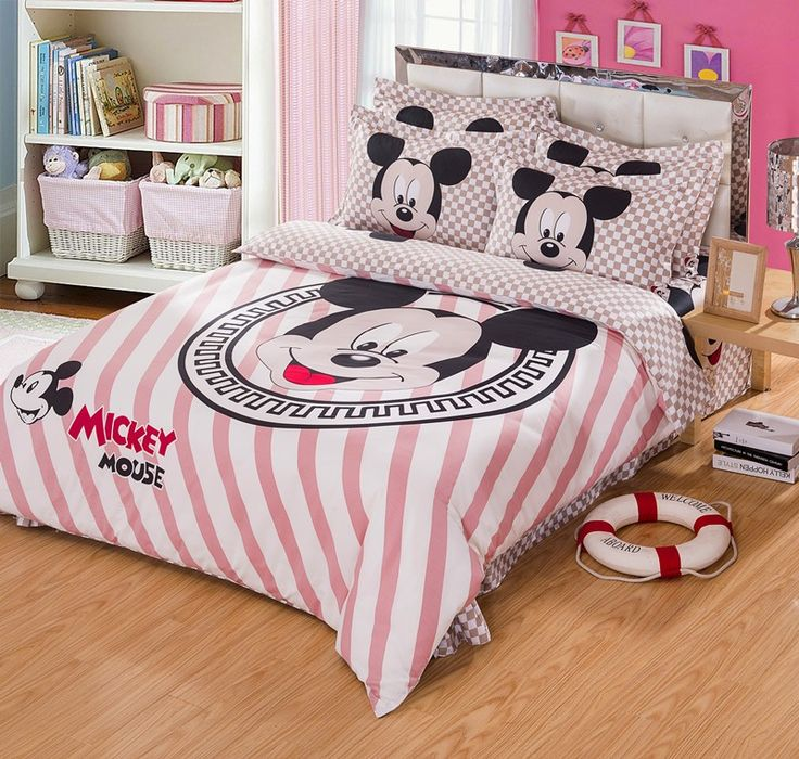 Cute Mickey Mouse Plaid And Striped Full Queen Size Bedding Sets