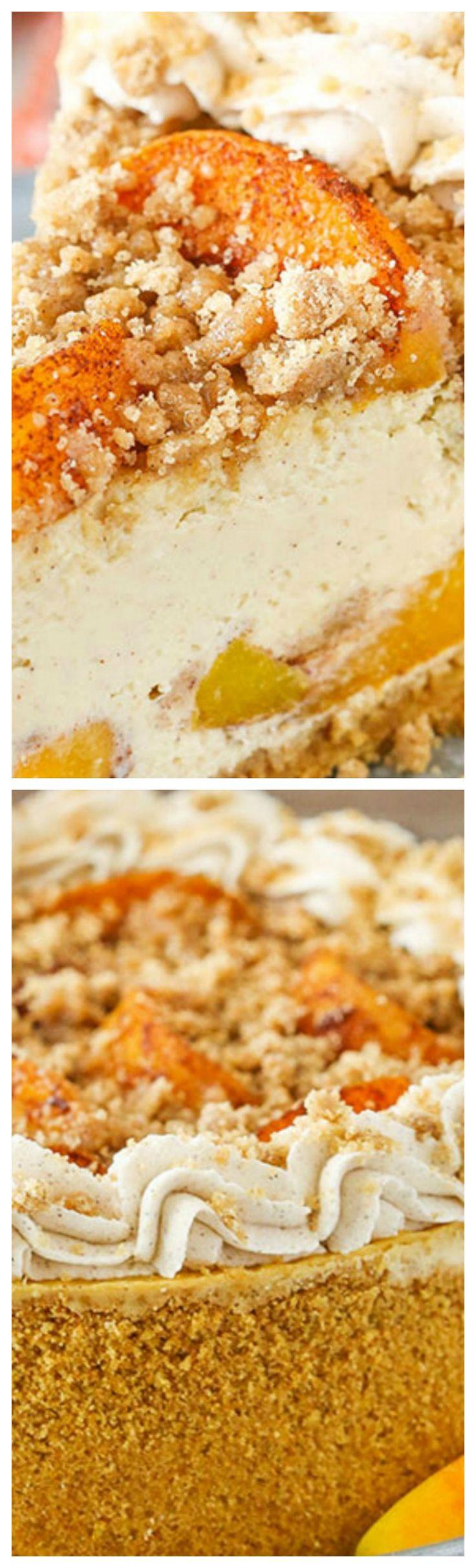 Bourbon Peach Streusel Cheesecake ~ Peaches, cinnamon, brown sugar and ...