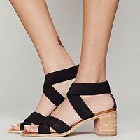 Nueva jalea del verano zapatos banda elástica cómoda para del cuero de la sandalia de estilo romano sandalias de tacón alto