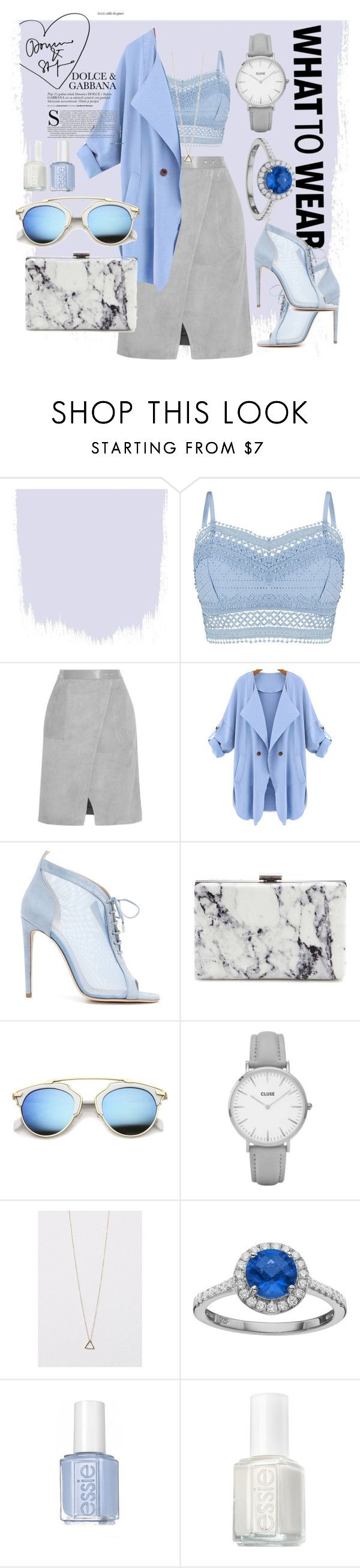 """Blue lagune mood."" by ro-mondryk on Polyvore featuring Lipsy, Halston Heritage, WithChic, Chloe Gosselin, Balenciaga, Topshop, Rebecca Sloane and Essie"