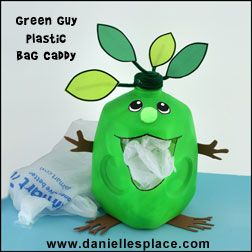 Green Guy Plastic Milk Jug Grocery Bag Caddy  Recycle Craft for Kids  What a fun way to store those plastic bags for reuse or until you can take them back to the grocery store for recycling. Please don't put them in your Rumpke recycling container!