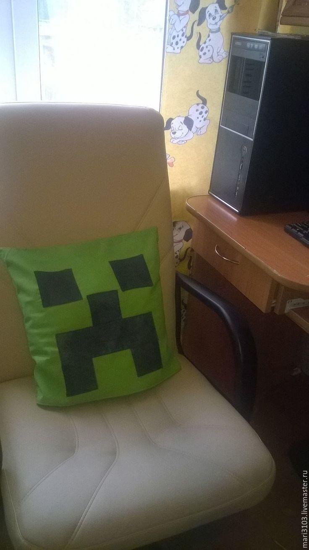 Купить подушка Крипер из игры Minecraft - ярко-зелёный, монстрик, монстр, герои компьютерных игр