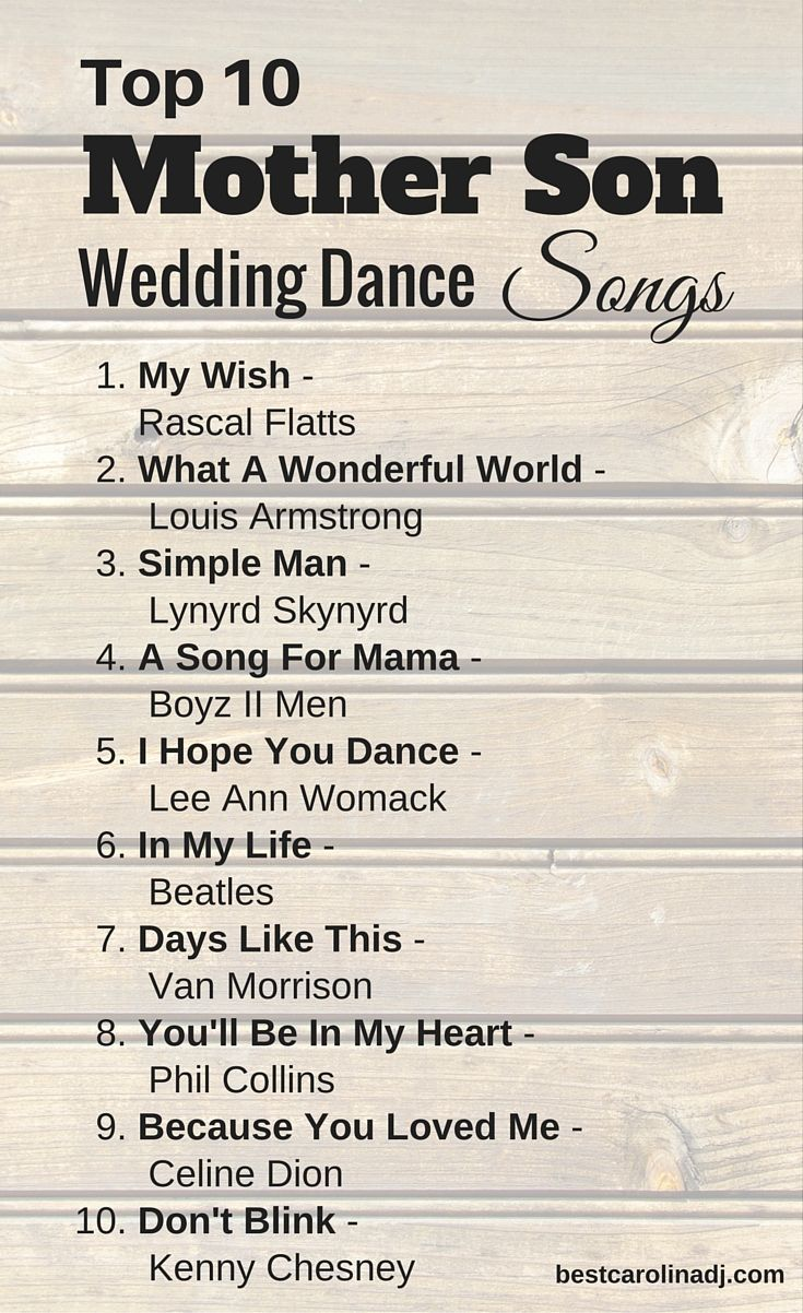 Top 10 Mother Son Wedding Dance Songs for Traditional Southern Weddings by http://www.bestcarolinadj.com