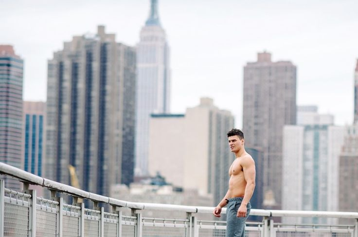 Evan Men's Fitness Model Body Builder NYC Skyline