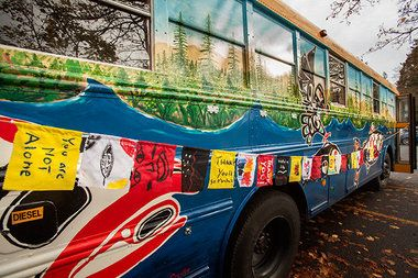 Climate activists and members of the Portland-area Climate Action Coalition are driving a 20-year-old school bus that was converted into a medical bunk house to the Standing Rock Sioux Tribe and their supporters protesting the controversial Dakota Access oil pipeline in North Dakota.