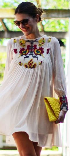 spring outfit - mini white dress with floral prints on the chest and wrist - yellow bag