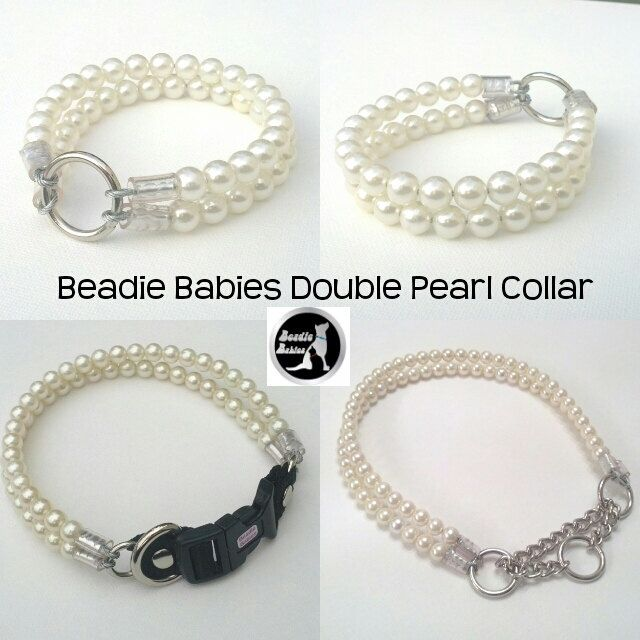 Double Pearl Dog Collar,Cat collar, Buckle Collars, Martingale Collars, Dog Pearls UNBREAKABLE GUARANTEE! by BeadieBabiez on Etsy https://www.etsy.com/listing/209075106/double-pearl-dog-collarcat-collar-buckle
