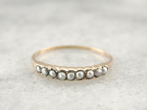 Victorian Seed Pearl Band or Stacking Ring in Fine Gold