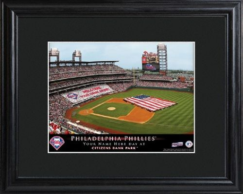 MLB Philadelphia Phillies Stadium Print with Wood Frame