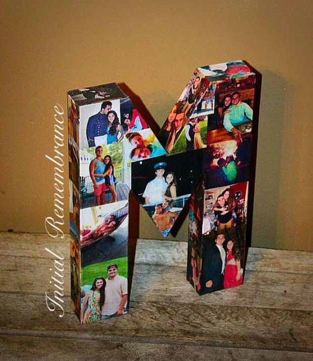 Photo letter collage Girlfriend Gift, Children's, College Dorm Room Wedding Birthday Picture Letter Personalized Monogram 3D Picture  Frame   I could so make one for James for his birthday...
