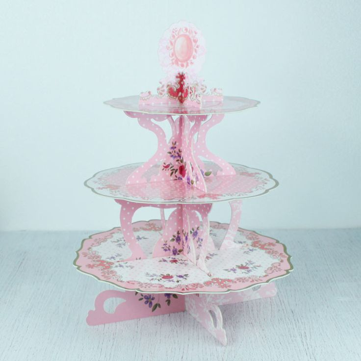 Vintage Inspired 3 Tier Cardboard Cupcake Stand - Pink from My Party Store