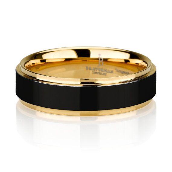 Black Tungsten Ring Yellow Gold Wedding Band Ring Tungsten Carbide 8mm 14K Tungsten Ring Man Wedding Band Male Women Custom Anniversary Size