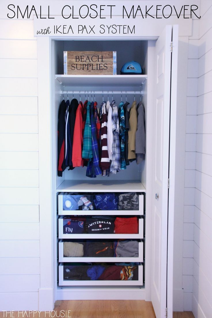 small reach in closet makeover with ikea pax organization