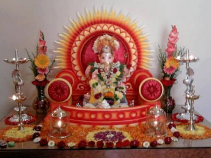 Image result for ganpati decoration ideas for home with lights ...
