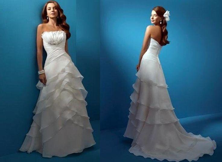 Бесплатная доставка новое поступление без бретелек slim-линии рюшами из органзы белый свадебные платья свадебные платья свадебные платья