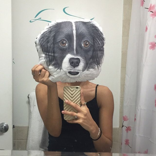 Buyer photo Jaclyn, who reviewed this item with the Etsy app for iPhone. thanks for this wonderful happycustomer pic! #doglover #gift #customdogportrait #dogpillow