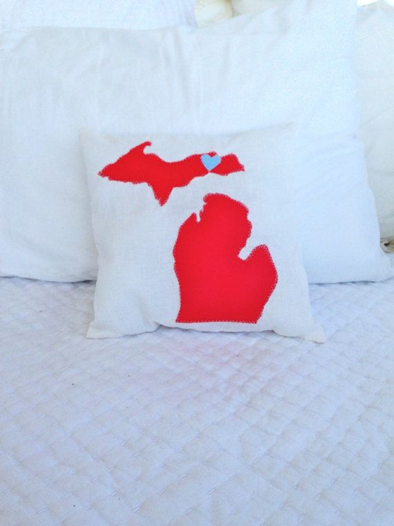 """i could make these on my new sewing machine! Michigan Lovers Custom Michigan state  Pillow 11''x11"""""""