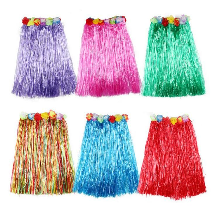 Colorful 60cm Women Girls Flower Tropical Hawaiian Luau Hula Grass Skirt Dance Skirts Wreath Costume Wedding Party Favors