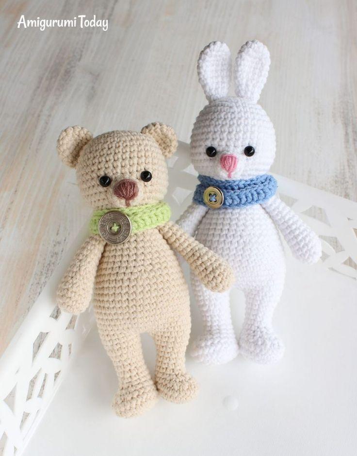 Заяц-обнимашка - схема вязания крючком