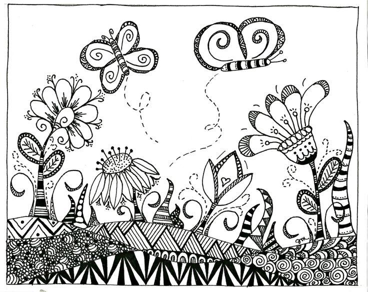 Butterfly Garden Zentangle Zentangles Pinterest