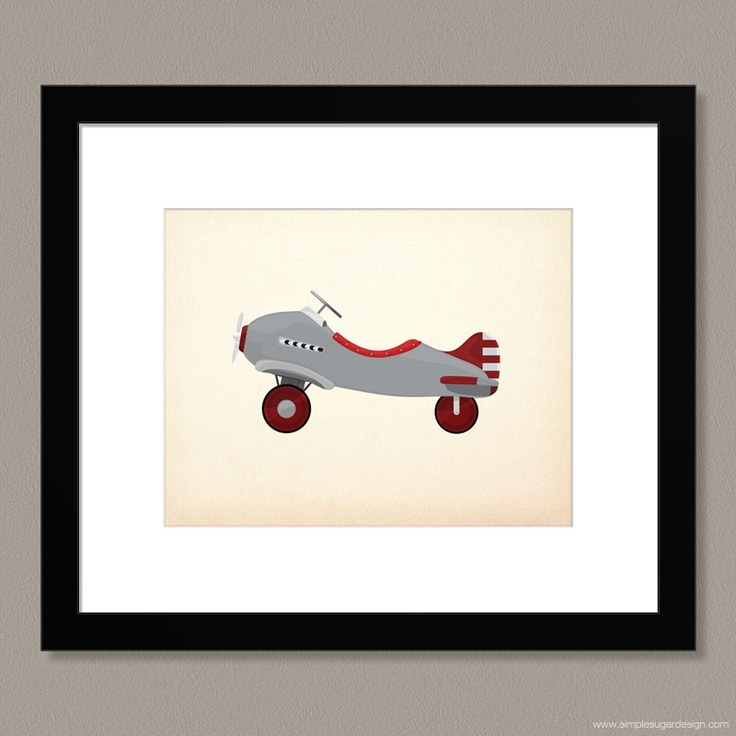"Choose a colour, and make it your own! ""Vintage Toy Plane"" print by Simple Sugar Design"