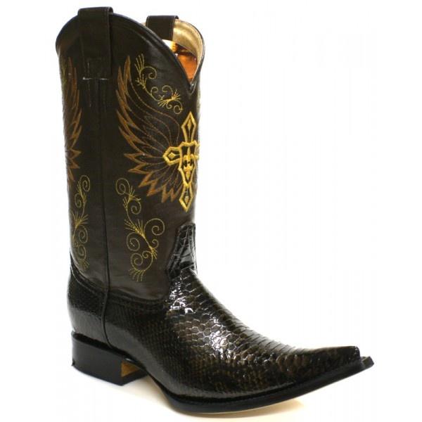 Jugo Boots® 5700 xx Bota de Hombre Vaquera Pitón Twister Café - Botas Vaqueras - Botas | El Vaquero Imports