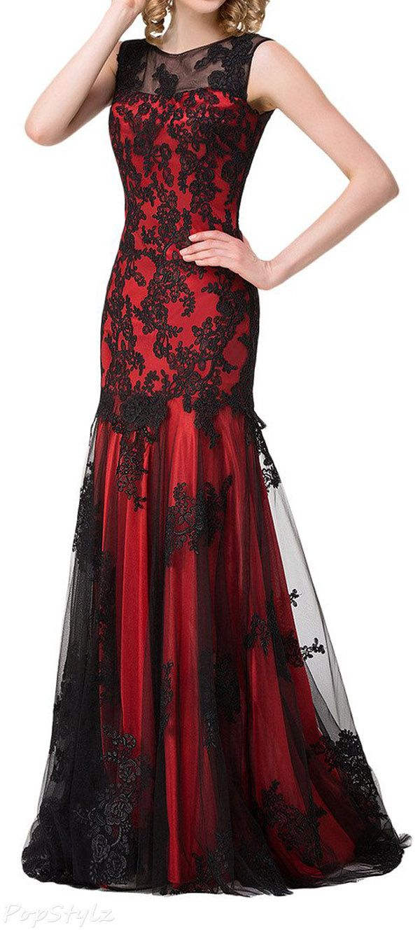Sunvary 2016 Satin & Black Lace Long Formal Gown