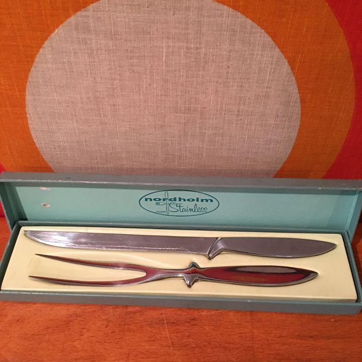 Vintage Nordholm Sweden Stainless Steel Serving Carving Fork and Knife Set, Mid Century Modern Serving Utensils, Nordholm Sweden by CapeCodModern on Etsy