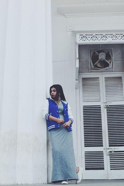 maxi dress, varsity jacket