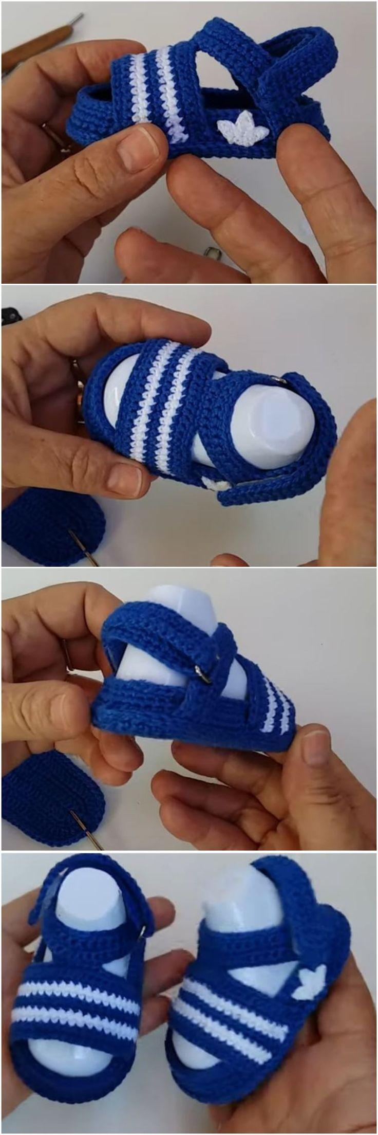 Crochet Adidas Baby Sandals