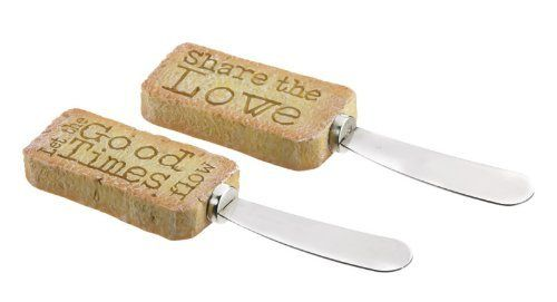 "Cork Spreader , Share the Love,Spreader,Cork and Metal, 6x2x2 Inches,Set of 2 by Cypress Home. $11.99. Cork and Metal. Set of 2. The size is: 6""x2""x2"". Cork Spreader Set of 2 - Share the Love. Dimensions: 6 x 2 x 2. Type: Spreader. Collection: Share the Love.. Save 33% Off!"