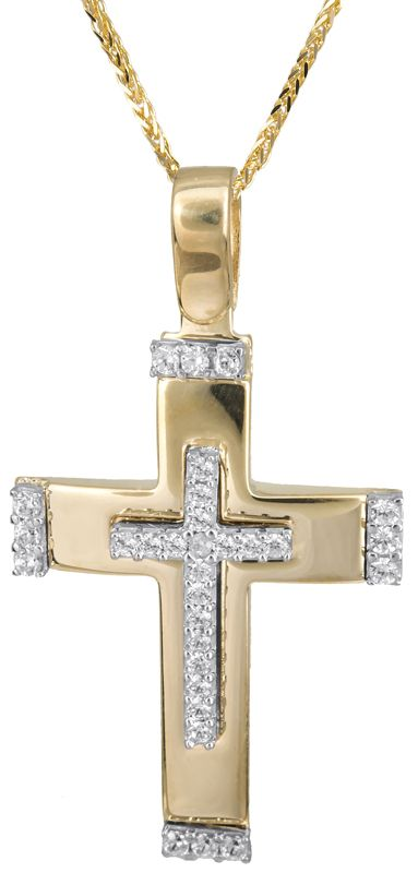 Δίχρωμος σταυρός με αλυσίδα 14Κ C022831