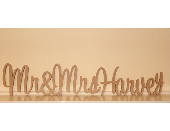 Personalised Mr & Mrs Wedding sign with surname by WoodenLettersAU