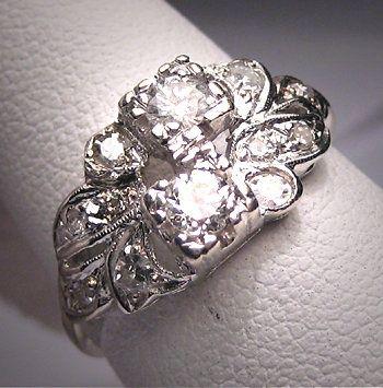 Antique Diamond Wedding Ring Band Vintage