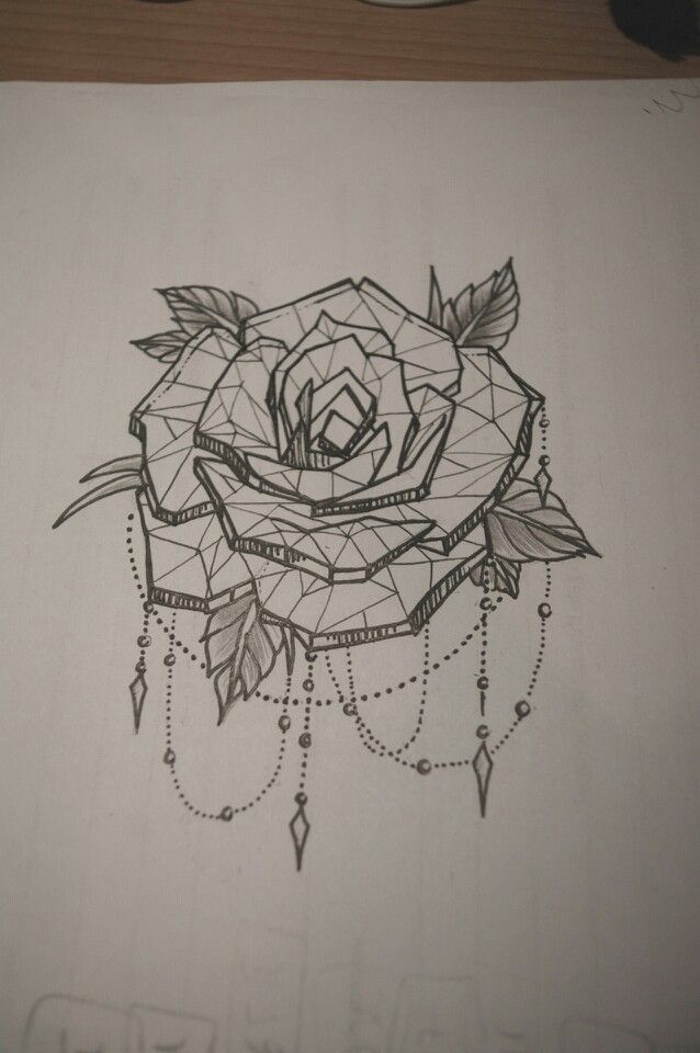 Tattoo geometric rose Probably gunna get a rose sleeve with all types of roses. Inner arm below elbow?
