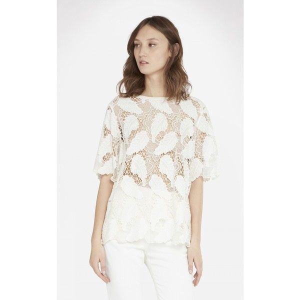Iro Sonaya Top ($378) ❤ liked on Polyvore featuring tops, blouses, natural, boat neck tops, lace blouse, white tops, elbow length blouse and white short sleeve top