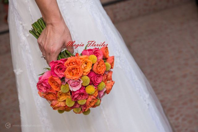 Colorfull roses, spray roses and craspedia wedding bouquet
