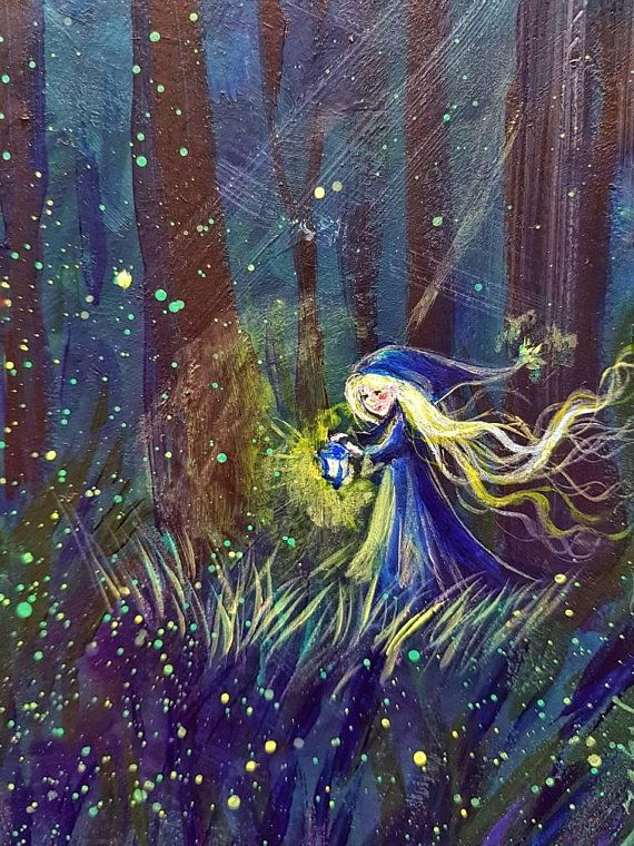 Girl in the Forest Painting on canvas fantasy illustration Acrylic Painting Original Painting