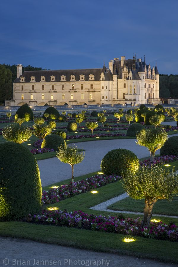 Night lights in the garden of Chateau Chenonceau, Loire Valley, France.  © Brian Jannsen Photography
