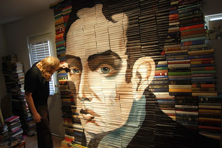 New Paintings on Salvaged Books by Mike Stilkey