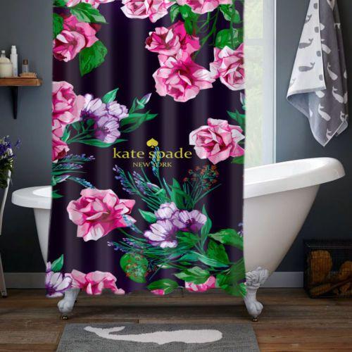 Kate-Spade-Est-1993-Beauty-Floral-Print-Custom-Shower-Curtain-Size-60-034-x-72-034